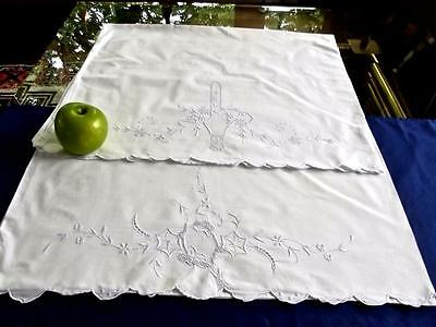 2 Vintage White Linen Madeira Embroidered 22x35 Pillowcases Blue Flower Basket