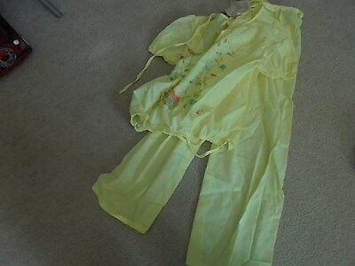 Vintage New Old Stock Girls Size 10 Yellow Long  Pajamas 1970's