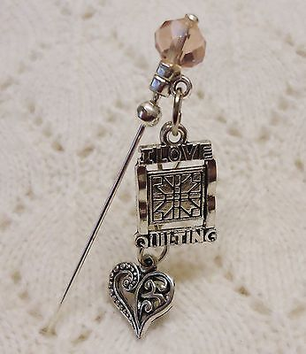 I Love Quilting Heart Crystal Bead HatPin with clutch Lapel Hat Brooch Stick Pin