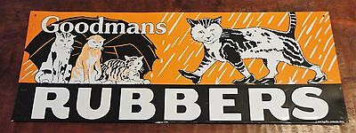 """Vintage Reproduction Tin Sign for """"Goodman's Rubbers"""" - circa mid 1990s"""