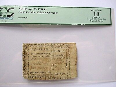 Colonial Currency N Carolina NC-127, 1761, 3 Pounds, PCGS VG-10, apparent