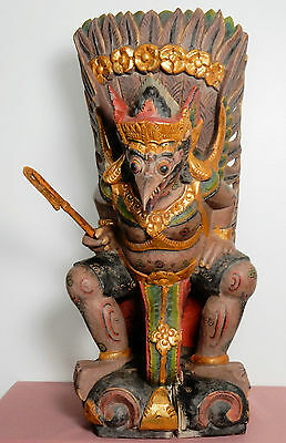 Vintage Indonesian Balinese carved, polychrome mythical bird of Garuda statue