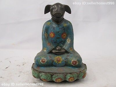 China Bronze Copper Cloisonne Enamel Buddhism Zodiac Buddha Pig Animal Statue
