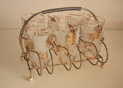 Retro Glasses / Tumblers x 6 With Gold Rack / Stand / Holder / Caddy