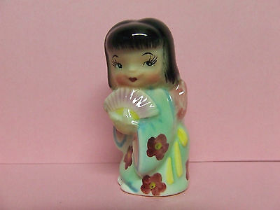 Vintage Geisha Girl w/Flowered Kimono & Fan Salt/Pepper Shaker (Japan/ #048)