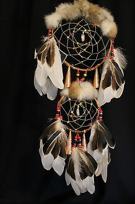 "Native American Double Birch Bark Dream Catcher 8"" X 5"" X"" 23 with Raw Quartz"