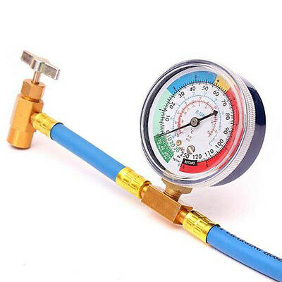 R-134 R134A  Refrigerant AC Recharge Hose Can Tap + Gauge with Brass Fitting NEW