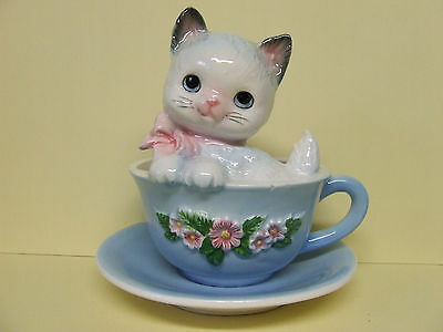 Vintage Kitty Cat Sitting in Tea Cup w/Bow & Flowers Wall Pocket (Japan)