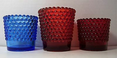 3 Hobnail Glass Votive Cup Candle Holder 2 Ruby Red And 1 Blue
