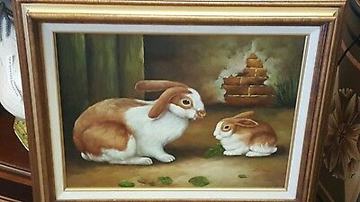 French Country Rabbit/Bunny Oil on Canvas Picture-Wood Frame!