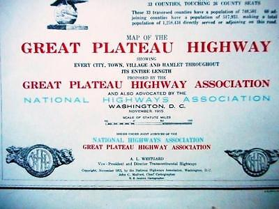 1915 Proposed Great Plateau Highway Map Montana -Texas Owned By William C Durant