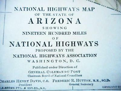 Proposed 1915 Arizona 'good Roads Everywhere'  Map. Owned By William C Durant