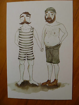 Postcard...beardy Couple...beards..handle Bar.moustache..swimsuit / Bathers