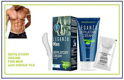 Hair Removal Depilatory Cream for MEN - ONLY 5 min,with Green Tea, 200 ml