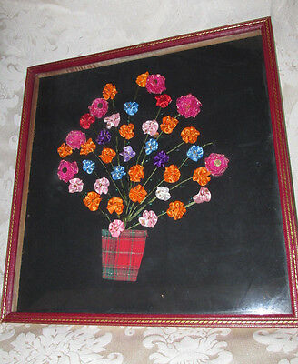Framed Picture H/ Crafted 3D Flower Spray in Vase Shadow Box Behind Glass 43CmW