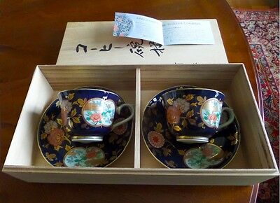 Two sets IMARI Teacups & Saucers, handpainted in Original Wooden Box, Mint Cond.