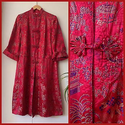 VINTAGE 60's Red ORIENTAL EMBROIDERED SILK Chinese DUSTER COAT Jacket 36