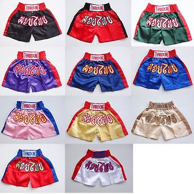 kids boxing shorts muay thai fighting kickboxing satin MMA childrens trunks ADK