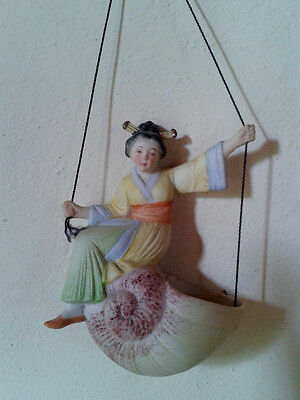 Antique German bisque porcelain swinger, Japanese lady