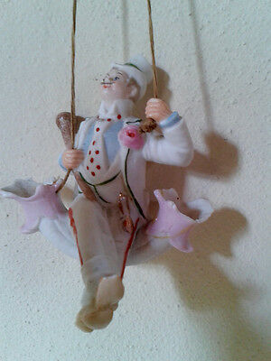 Antique German bisque porcelain swinger, a dapper gentleman