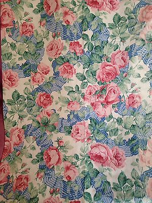 Vintage Sanderson Fabric Garland Of Roses