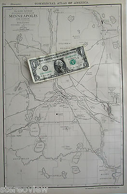 MINNEAPOLIS Map. XL 1916 McNally Commercial MNPLS Map. RAILROADS. SOO, CM&StP
