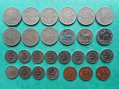 Mauritius 5,20 Cents,1/2,1,10 Rupees 1987-1999 (Lot of 27 Coins)
