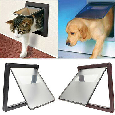 1Pc Plastic Pet Dog Cat Door 4 Way Lock Lockable Safe Flap Door Pet Supplies