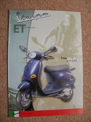 Original Vespa ET2 ET4 50/125 scooter brochure 2001