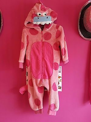 Next Pink Dinosaur all in one with Tail Size 12-18 Months