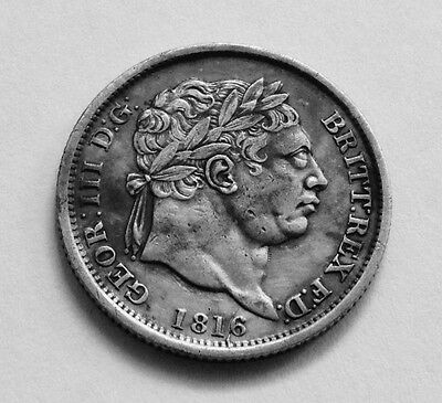 1816 Shilling - George Iii British Silver Coin - V Nice