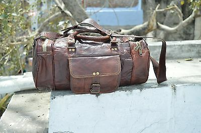 "16"" Men's Brown Vintage Genuine Leather Cowhide Travel Luggage Duffle Gym Bags"