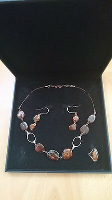Vintage Sterling Silver 925 natural amber jewellery set necklace ring earrings