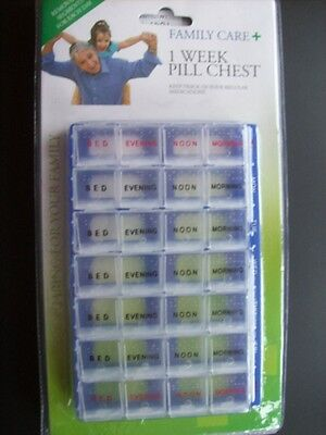 Medicine Daily Pill Dispenser Chest Box, 1 week, 28 compartments