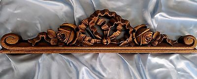 Antique Hand Carved  Element Gilded Wood French Decor Pediment