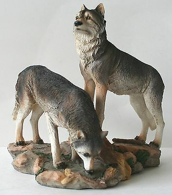 """WOLF Figurine Wolves on Rocks 9"""" x 9"""" Resin NEW"""