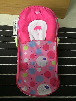 Summer baby bather seat support pink polka dots