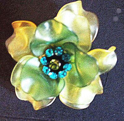 Vintage 60'S Flower Power Brooch Pin Green Yellow Petals Aqua Rhinestones