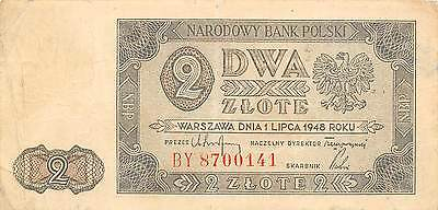 Poland  2  Zlote  1.7.1948  P 134  Series BY  Circulated Banknote