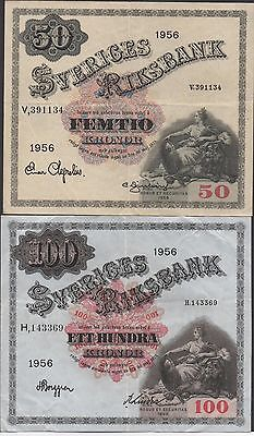 Sweden 50 & 100 kronor 1956  P 44b & P 45b  2  Circulated Banknotes
