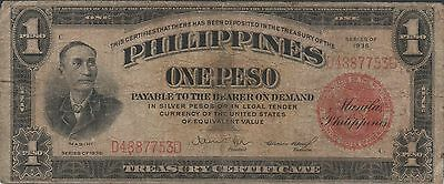 Philippines 1 Peso  Series of  1936   Circulated Banknote