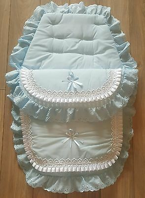 Beautiful luxury pram set footmuff/cosytoes romany style in blue and white.