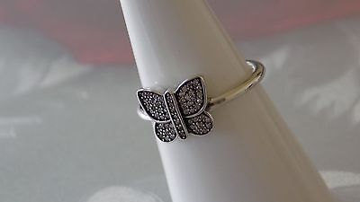 Pandora Sparkling Butterfly Sterling Silver Ring.  S925 ALE