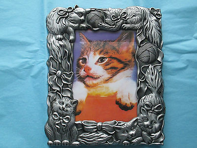 Pewter Color 3-D Cat Pet Photo Picture Frame NIB
