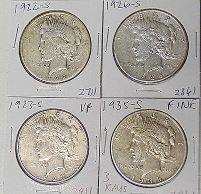 4 Silver Dollars: 1922-S 1923-S 1926-S 1935-S Peace Dollars Circulated Condition