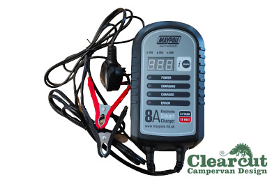 Campervan 8 amp Battery Charger,Electronic Smart Charger.Leisure Battery Charger