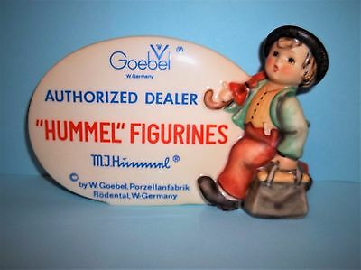 "AUTHORIZED HUMMEL DEALER PLAQUE ""Merry Wanderer"" FIGURINES -W GERMANY-TMK 5"