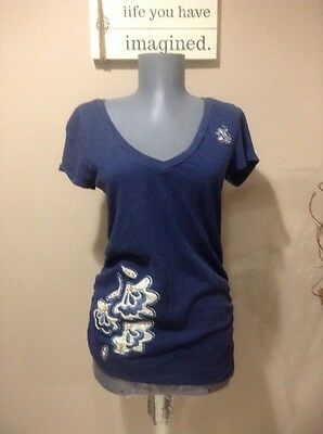 Maternity Old Navy Blue Short Sleeve Top With Ruched Sides Size Small