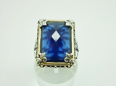 Super Antique Style Sterling Silver & Sapphire Chunky Ornate Mens Ring Size T