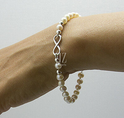 Freshwater Cultured Pearls Bracelet/Anklet with Sterling Silver Infinity Charm
